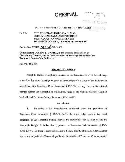 JudgeGloriaDumasCharges
