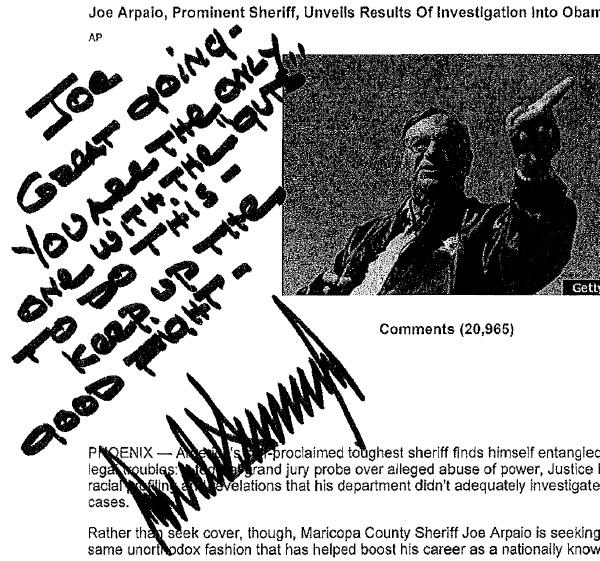 Donald Trump Praises Joe Arpaio Investigation Of Obama Birth